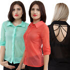 Button Down Shirt V back 3/4 sleeve S, M, L, XL Casual Solid Black,Green,Coral