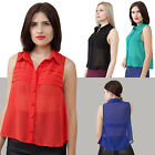 Chiffon spread collar folded front detail Solid Button Down Shirt Casual S, M, L