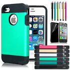 Hybrid Rugged Rubber Matte Skin Hard Case Cover For iPhone 4 4S Screen protector