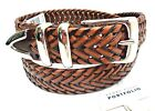 PERRY ELLIS Men's Belt *Luggage Braided Leather w/Silver Buckle Sizes 32-42 New