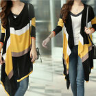 Hot Women's Hit-color Splicing Irregular Hem One Button Striped Cardigan Sweater