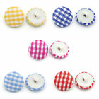 14mm Gingham Material covered Buttons x 5, Blue, red, yellow ect Beads/Craft