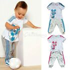 2PCs Kids Baby Boys Girls Stripe Mickey Mouse Top T-shirt+Pants Tracksuit Outfit