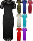 New Plus Size Womens Lace Lined Ladies Short Sleeve Bodycon Midi Dress 14-28