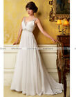 New Straps Beads Chiffon Empire Wedding Dress Size 6 8 10 12 14 16 18 20+ Custom