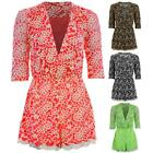 Women's Wrap V Neck 3/4 Sleeve Embroidered Lace Lined Ladies Playsuit