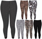 Womens New Printed Ladies Lace Trim Stretch 3/4 Cropped Pants Legging Plus Size