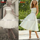 Hot Stock Vintage Tea Length Bridal/Prom/Wedding Dress Gown Size 6 8 10 12 14 16