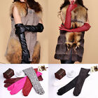 Womens Arm Long Genuine PU leather Evening Party Finger Gloves Gift Mittens