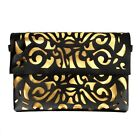 BMC Dual Color Faux Leather Vinyl Decorative Cut Out Print Large Envelope Clutch