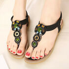 US5-9 Fashion Leather Gem Bead Flip-Flops Summer Sandal soft womens thongs shoes