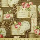 VIntage Books And Roses Brown Japanese Cotton Linen