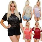 New Ladies Womens Short Sleeve Filigree Crochet Knit Knitted Jumper Top Size S M