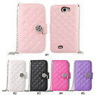 Luxury Diamond PU Leather Flip Wallet Case Cover For Samsung Galaxy Note 2 N7100