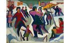 """KIRCHNER """"Ice Skating Rink With Skaters"""" HOLDING couple child snow winter PRINT"""