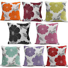 Chenille Poppy Cushions - Large & Small Floral Sofa Bed Scatter Cushion Covers