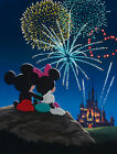 Mickey & Minnie Mouse Watch Disneyland Castle Fireworks Disney Giclée on Canvas