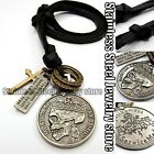 Antique Vintage Skull Mens Genuine Leather Necklace Charm Pendant Choker Gift