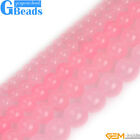 Rose Pink Jade Gemstone Round Beads For Jewelry Making Free Shipping Strand 15""