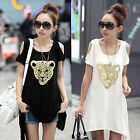 Summer Fashion Women Short Sleeve Off-shoulder Leopard Printed Casual Top Blouse