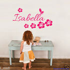 PERSONALISE Name & Hibiscus, butterfly Removable wall sticker for kids / Nursery
