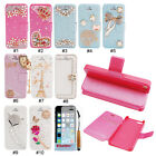 Cute 3D Rhinestone Bling Magnetic PU Flip Stand Wallet Case For iPhone 5 5G 5S