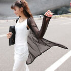 Women Long Soft Thin Solid Coat Flyaway Blouse Jacket Summer Open Loose Cardigan