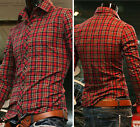 HOT SALE High Quality Men's Button-Front Slim Fit Long Sleeve Polo Plaid T-Shirt