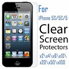 2x 4x 6x 10x 20x 50x  Lot Clear Screen Protector Film for Apple iPhone 5 5S 5C
