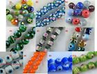 40pcs Handmade Lampwork Flower Round Bead Spacer 10mm 10colors-1