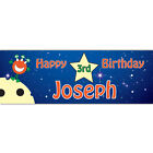 Personalised Name Date Party Banner PVC  Space Alien Birthday
