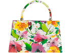 MULTI TONES FLORAL PATENT FAUX LEATHER CLUTCH BAG RETRO WEDDINGS PROM 41098