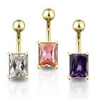 Gold Plated Crystal Square Belly Bar - Choose Colour