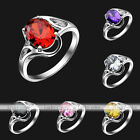 Womens Silvery CZ Cubic Zirconia Oval Comfort Fit Bands Love Promise Finger Ring