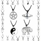 New Fashion HOT Tibetan Silver Pendant Necklace Choker Charm Black Leather Cord