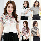 Women Batwing Short Sleeve Floral Stripe Print Chiffon T Shirt Summer Top Blouse