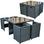 RATTAN GARDEN FURNITURE SET 4 PERSON OUTDOOR PATIO DINING WICKER TABLE CUBE NEW