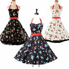 CHEAP SALE~ CHERRY ROCKABILLY 1950's 60's VINTAGE SWING PIN UP PROM PARTY DRESS