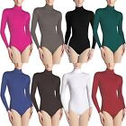 LADIES NYLON TURTLENECK BODYSUIT WOMENS LONG SLEEVE SEEMLESS LEOTARD TOP UK 8-18
