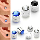 Pair Crystal Steel Magnetic Fake Cheater Ear Plug illusion Srtetcher Earring New