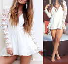 Sexy Fashion V Neck Long Sleeve Lace Playsuit Jumpsuits Shorts Plunge Skirt Club