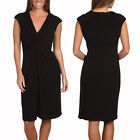 Alluring Twist Front Sleeveless Jersey Cocktail Party Day Night Dress Black