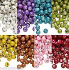 100 Plastic Acrylic 6mm Round Beads w/ Speckled Gold Black & Silver Paint Spots