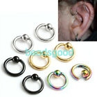 2pc 16G Steel Tragus Helix Hoop Captive Bead Ring Cartilage Stud Earring 6-12mm