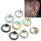 Pair 16g Steel Tragus Helix Hoop Captive Bead Ring Cartilage Ear Stud Earrings