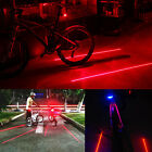 Bike Bicycle Cycle 5 Led Red Laser Beam Safety Flash Rear Tail Lamp Lights New