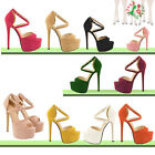 Girls Party Peep Toe Strappy Platform Faux Suede High Heels Sandal Womens Shoes