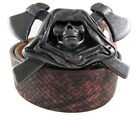 Perpetual Vogue Rose Black Leather Belt with Grim Reaper Belt Buckle