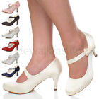 WOMENS LADIES HIGH HEEL MARY JANE STRAP BOW WEDDING BRIDAL SHOES SIZE