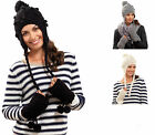 NEW LADIES WARM KNITTED SKI PERUVIAN CABLE KNIT HAT TASSELS POMPOMS WINTER STYLE
